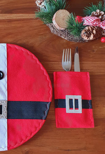 Red cutlery bag with belt