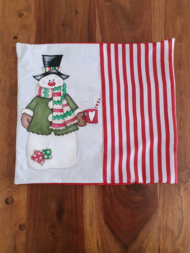 Snowman hand painted Christmas cushion