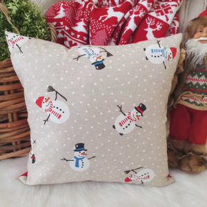 Snowman print Christmas cushion