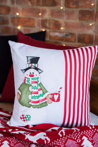 Snowman Drinking Coffee Hand Painted Cushion