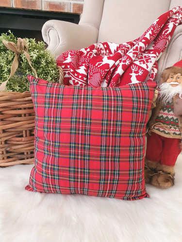 Plain tartan Christmas cushion