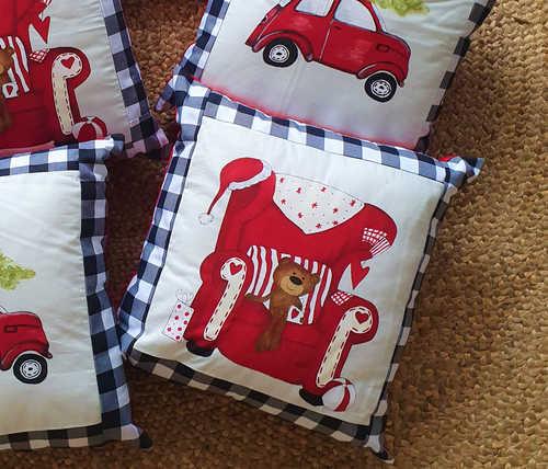 Teddy on Santa chair hand painted cushion