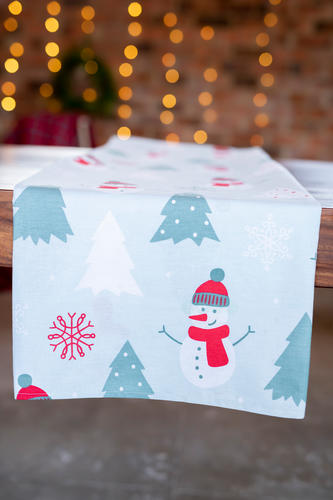 Turquoise blue snowman tablecloth