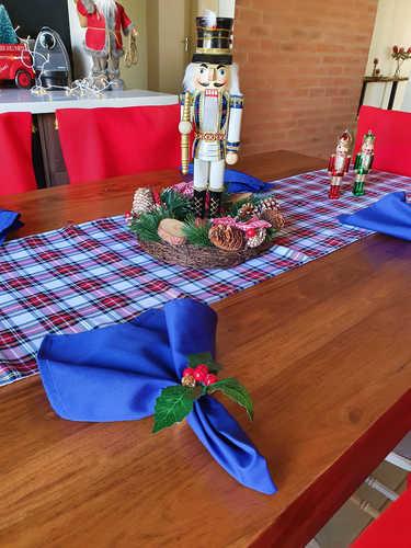 White & blue tartan table runner