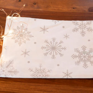 White with grey snowflakes table runner for Christmas