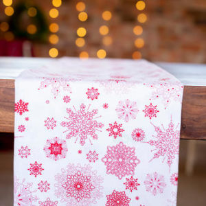 White & red with snowflakes tablecloths