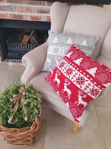 Grey & white knitted Christmas cushion