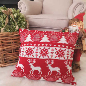 Red knitted Christmas cushion