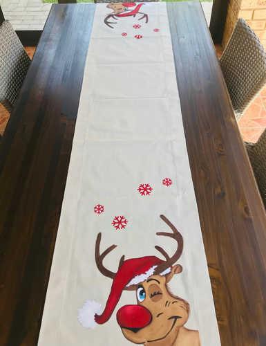 Hand painted Reindeer table runner